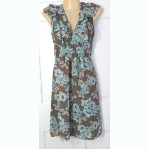 H&M Taupe and Turquoise Tea Dress: Size 8